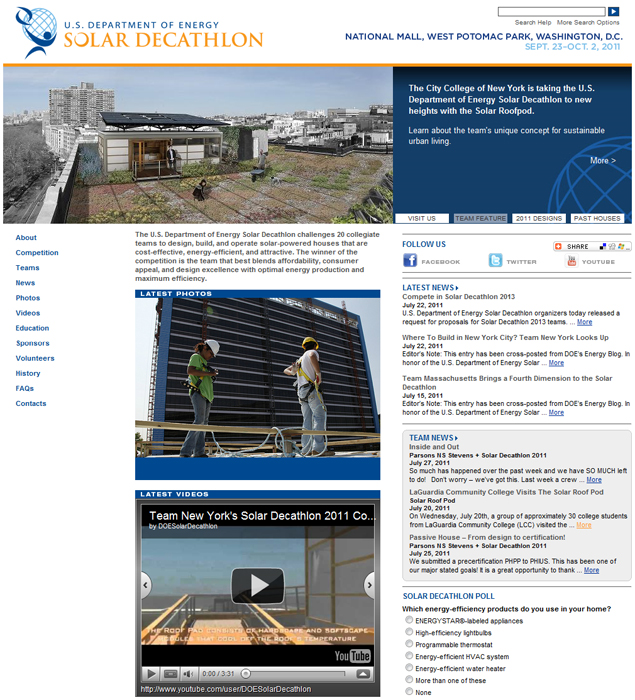 Image of Department of Energy Solar Decathlon homepage.